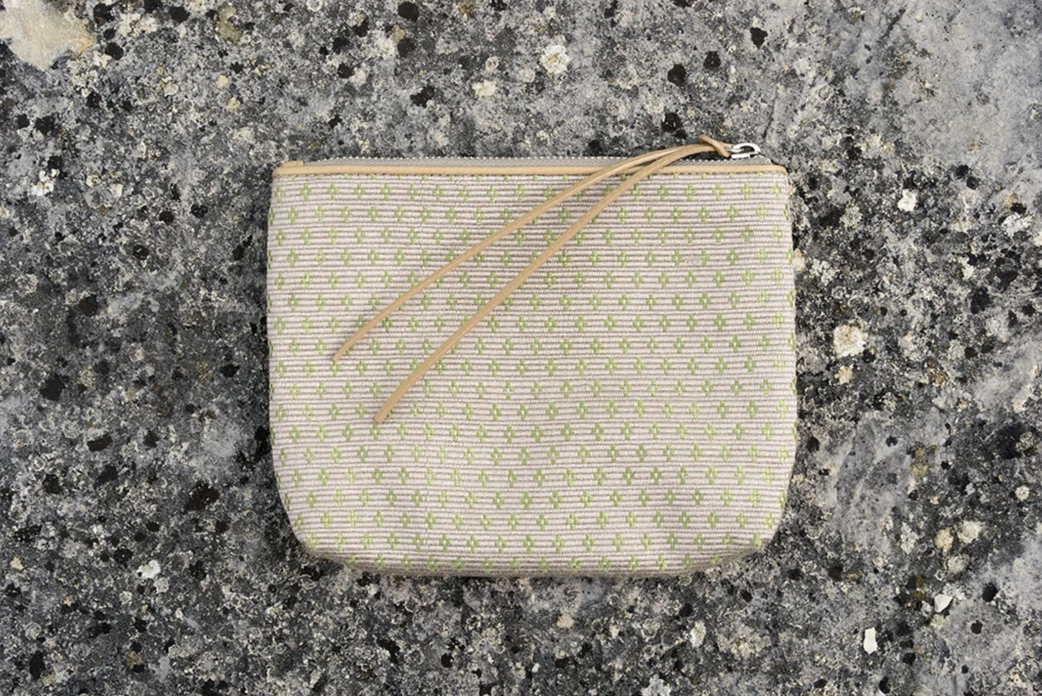 Zipper Pouch, Beige/green