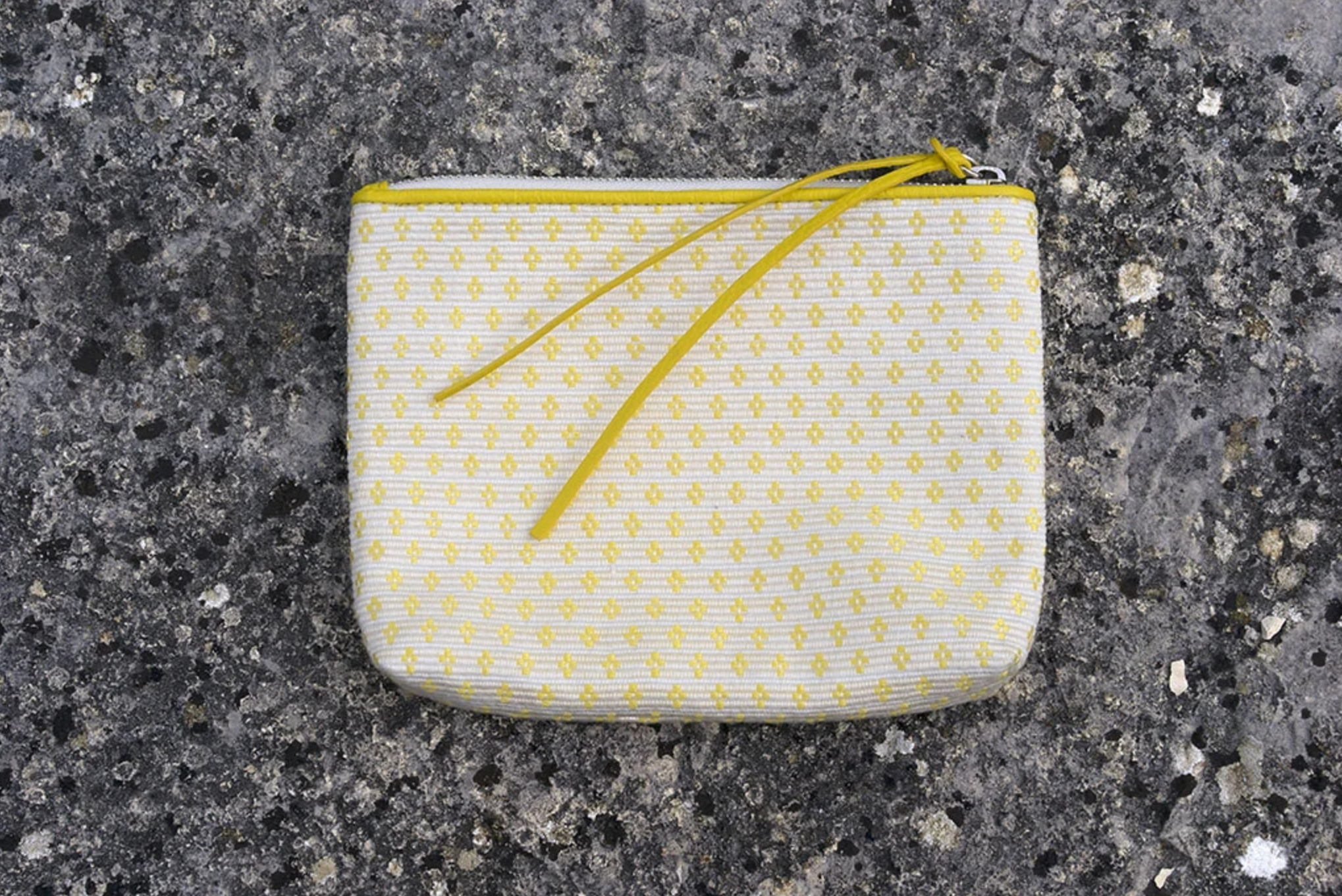 Zipper Pouch, White/yellow